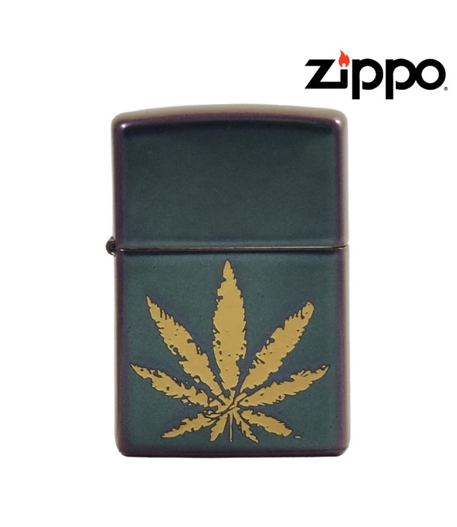 Zippo Lighter Iridescent Engraved Leaf