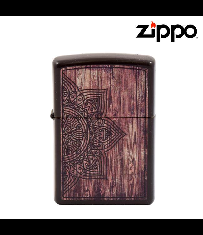 Zippo Lighter Wood Mandala