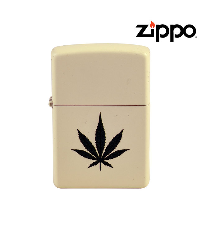 Zippo Lighter Cream Matte w/ Cannabis Leaf