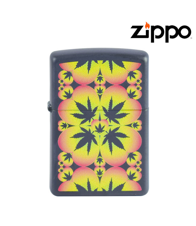 Zippo Lighter Black Cannabis Pattern