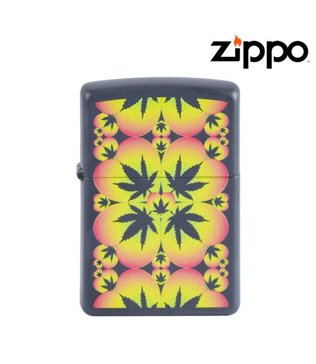 Zippo Lighter Black Cannabis Pattern
