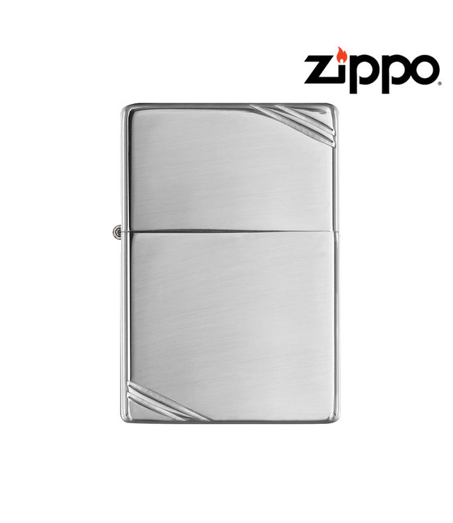 Zippo Lighter High Polish Chrome w/ Vintage Slashes