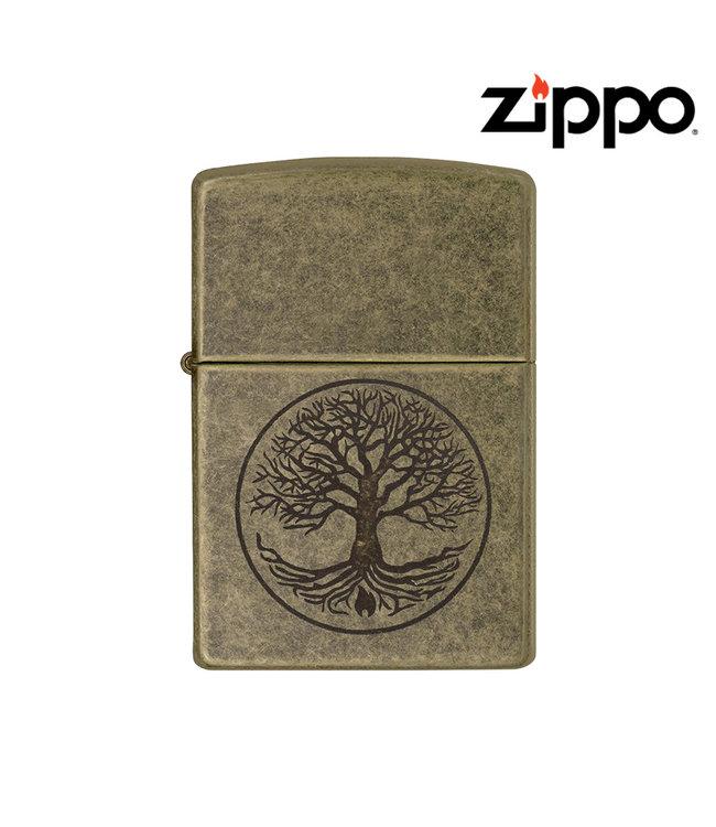 Zippo Lighter Antique Brass w/ Tree