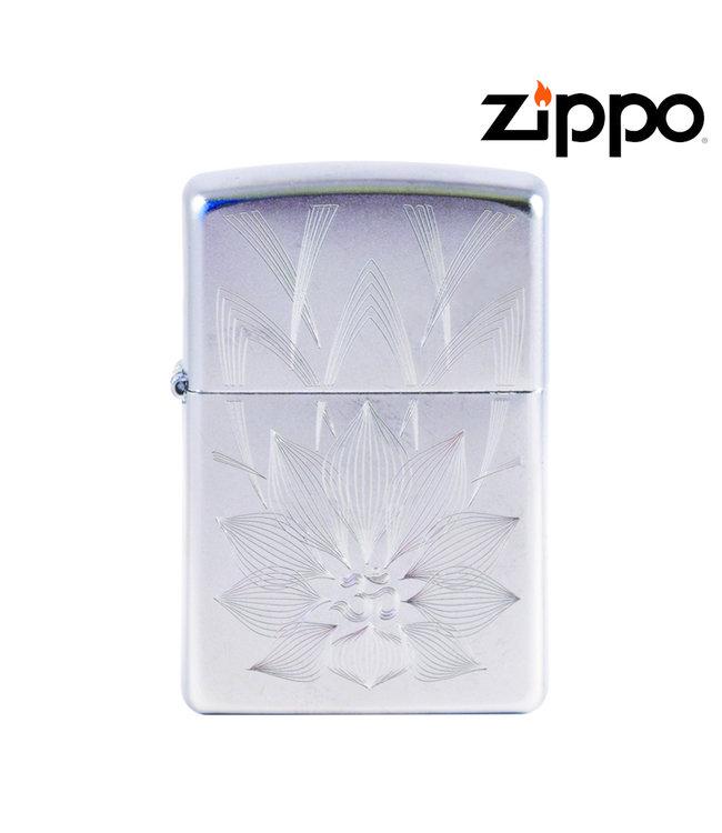 Zippo Lighter Satin Chrome w/ Lotus Ohm