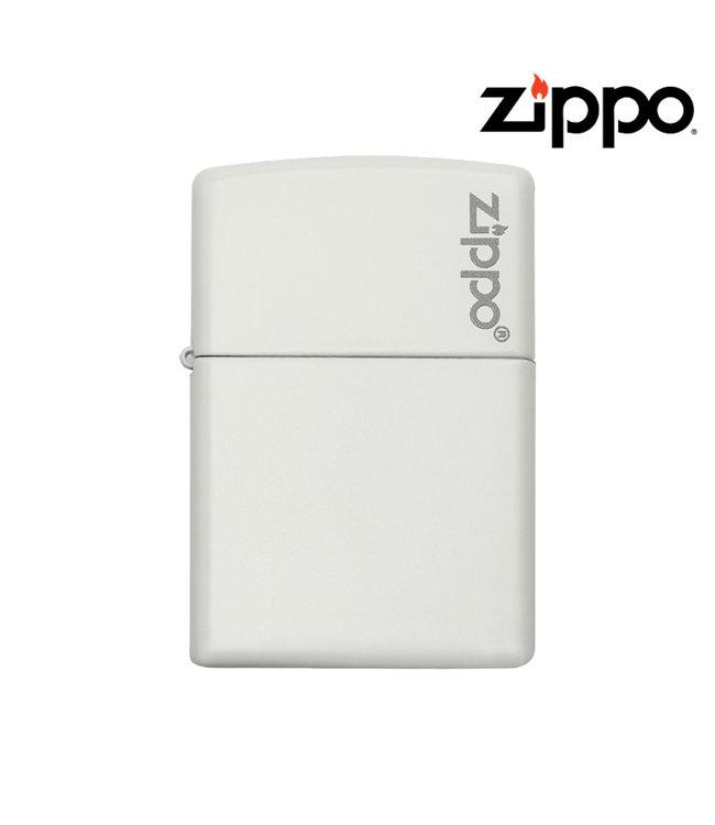 Zippo Lighter White Matte w/ Logo