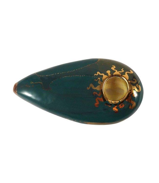 Porcelain Gold Goddess Pipe Dark Green