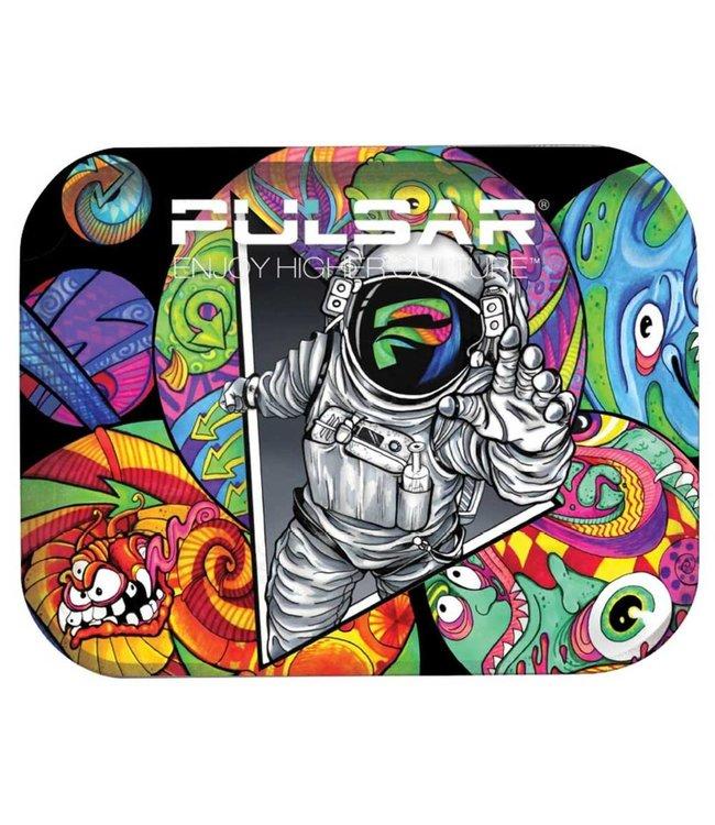 """Pulsar Pulsar 11"""" x 7"""" Metal Rolling Tray - Medium - Psychedelic Astronaut"""