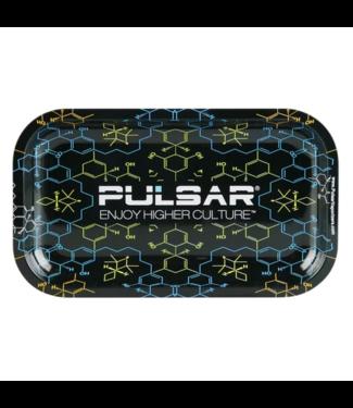 "Pulsar Pulsar 10.5"" x 6.25"" Metal Rolling Tray - Medium - THC Molecule"