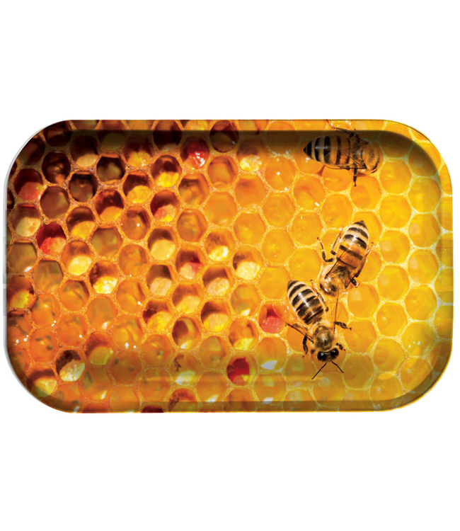 "Pulsar Pulsar 11"" x 7"" Metal Rolling Tray - Medium - Honey Bee"