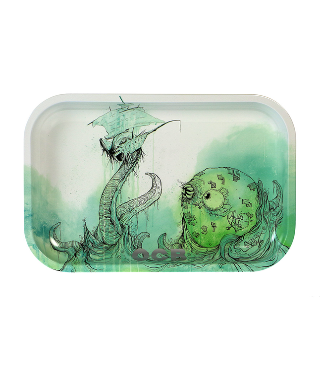 "OCB OCB 11"" x 7"" Medium Metal Rolling Tray - Kraken"