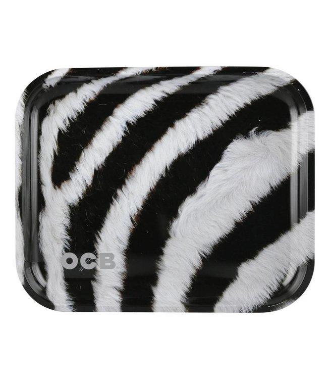 """OCB OCB 14"""" x 12"""" Large Metal Rolling Tray - Zebra"""