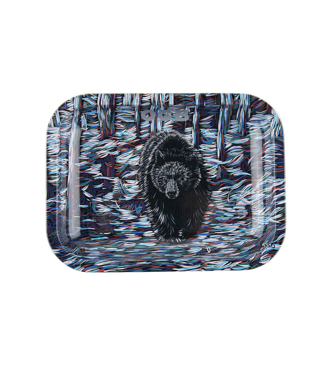 "OCB OCB 7.5"" x 5.5"" Small Metal Rolling Tray - Bear"