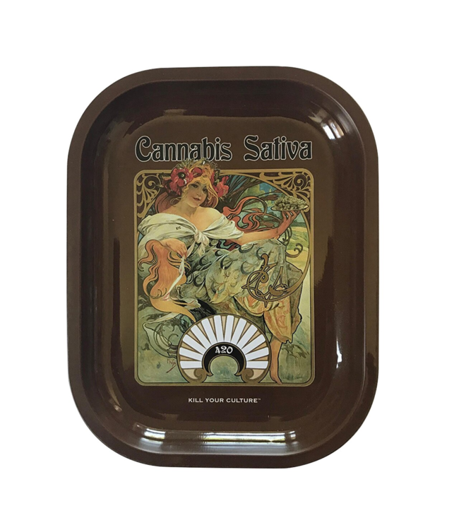 "Kill Your Culture Rolling Tray - 5.5"" x 7"" - Cannabis Sativa"