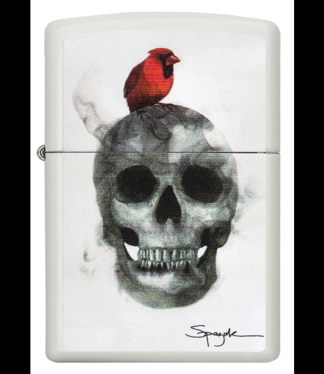 Zippo Zippo Lighter Spazuk Skull w/ Cardinal White Matte