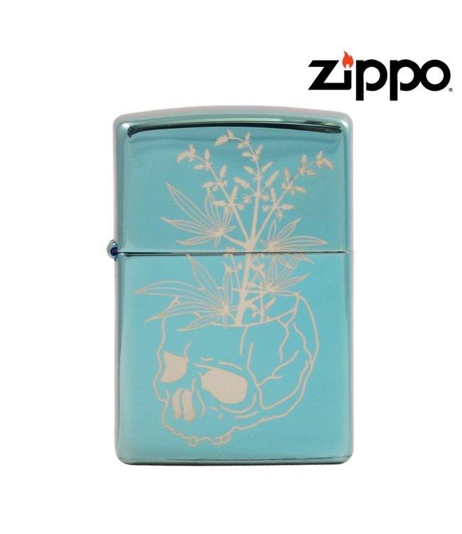 Zippo Lighter High Polish Green w/ Skull Vase
