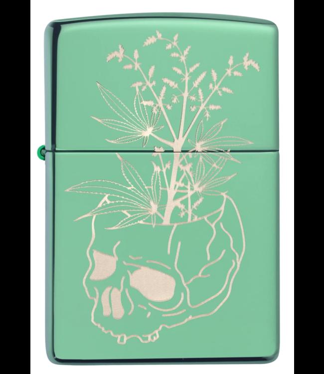 Zippo Zippo Lighter High Polish Green w/ Skull Vase
