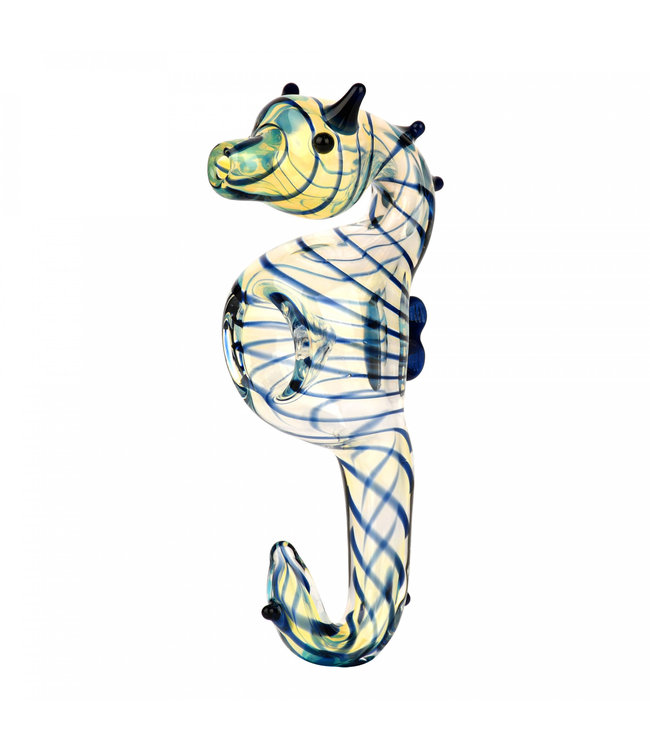 "Glass 4.75"" Seahorse Pipe"