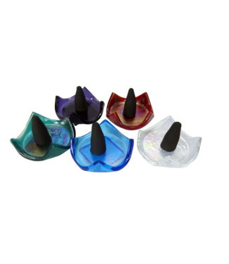 Glass Cone Incense Burner Assorted Colours