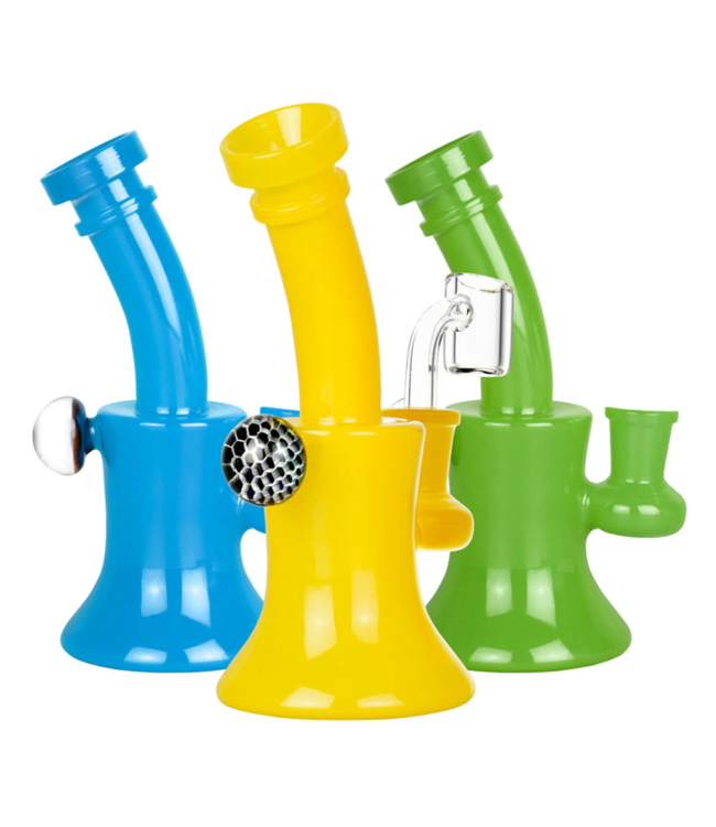 "Pulsar Pulsar 6.5"" Solid Colour Dab Rig with Honeycomb Marble Assorted Colours"