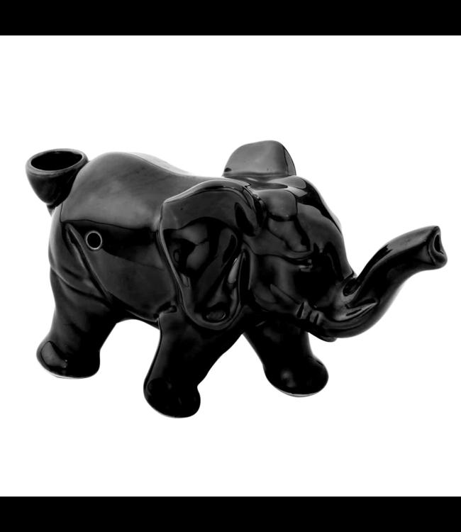 Ceramic Elephant Pipe Black