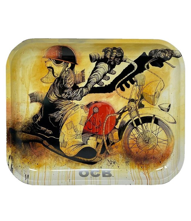 "OCB OCB 7.5"" x 5.5"" Small Metal Rolling Tray - Motorcycle"