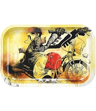"OCB OCB 11.5"" x 7.5"" Medium Metal Rolling Tray - Motorcycle"