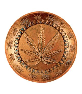 "Ceramic Incense Burner 5"" Round w/ Cannabis Leaf"