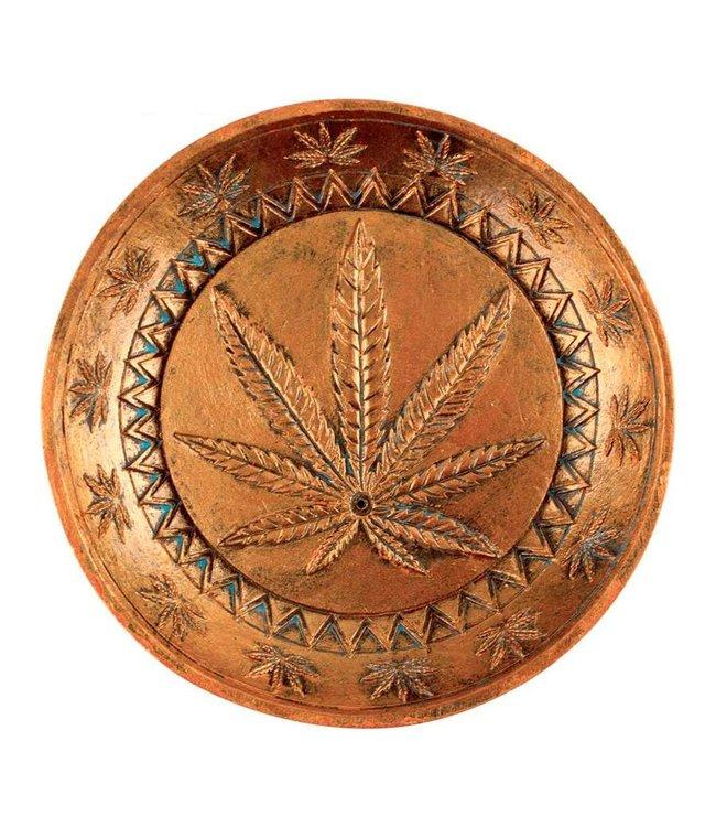 "Ceramic Incense Burner 5"" Round w/ Cannabis Leaf"