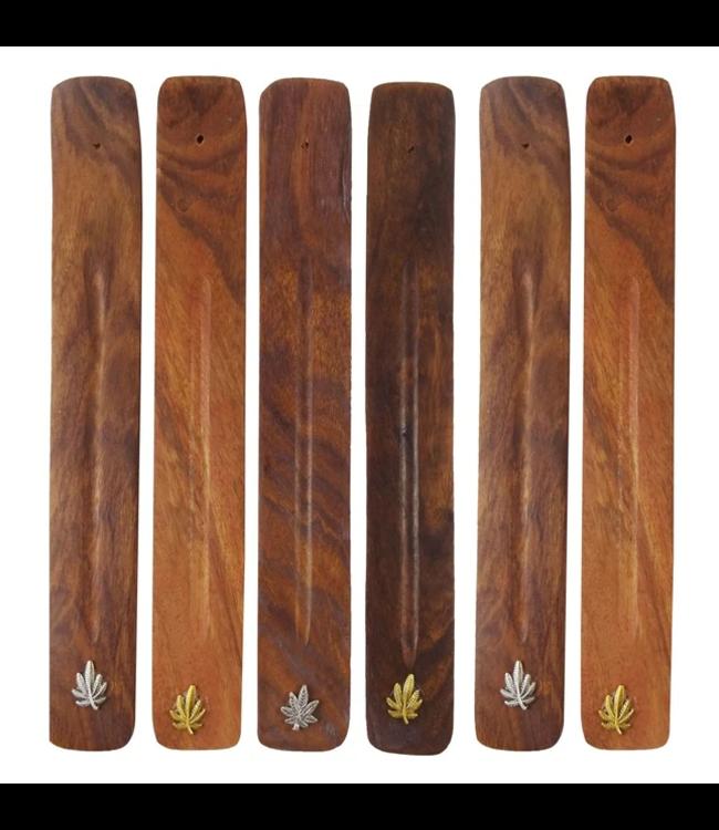 Wood Incense Burner w/ Leaf Symbol