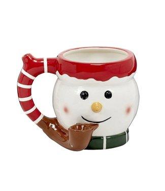 Premium Roast & Toast 16oz Ceramic Mug w/ Pipe Snowman