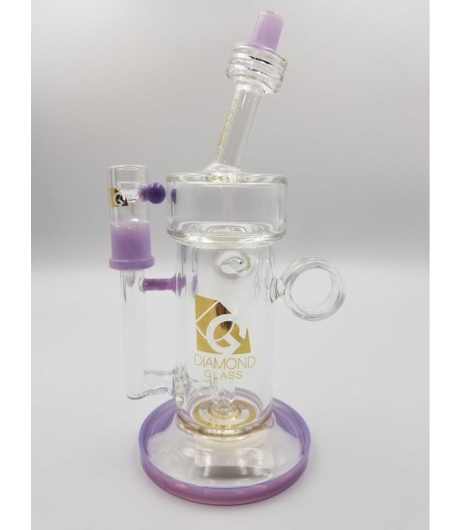 "Diamond Glass 8"" Rig w/ Ring Grip, 14mm Dome & Nail"