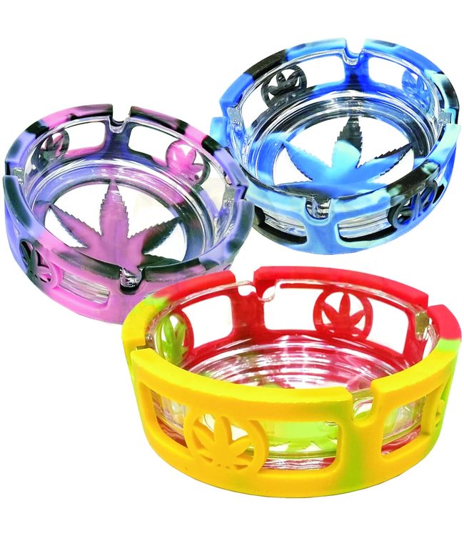 Silicone & Glass Leaf Ashtray Assorted Colours