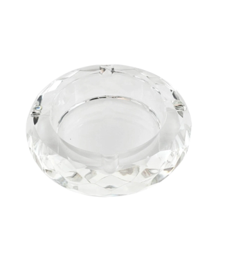 Glass Crystal Ashtray - Round Multi Faceted