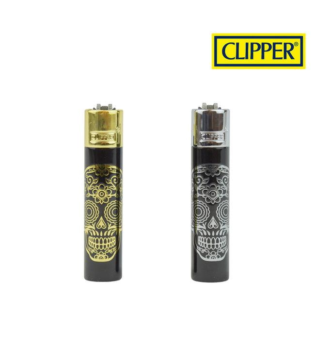 Clipper Clipper Metal Refillable Lighter Mex Skull