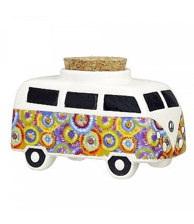 Vintage Bus Flower Power Ceramic Stash Jar