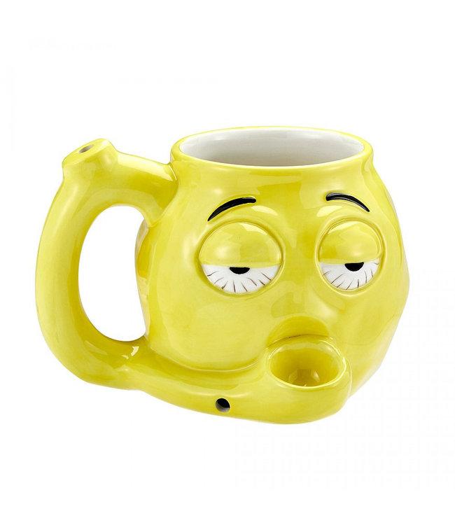 Stoner Emoji Ceramic Mug Pipe Yellow