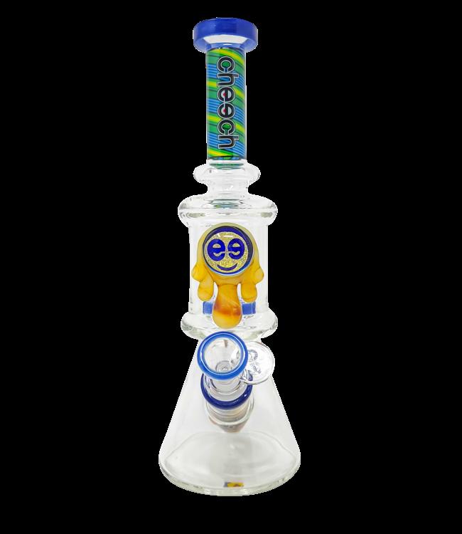 """Cheech Glass Cheech Glass 11"""" Honey Drip Dual Chamber Beaker Blue & Green"""