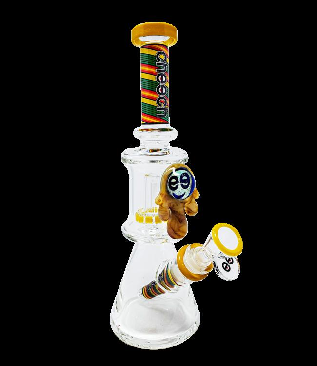 "Cheech Glass Cheech Glass 11"" Honey Drip Dual Chamber Beaker Rasta"