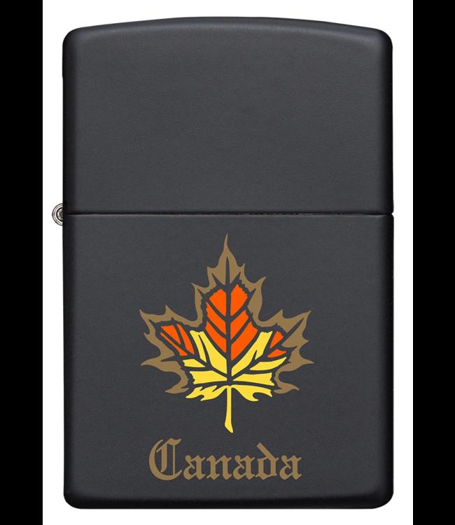 Zippo Lighter Black Matte w/ Maple Leaf Canada
