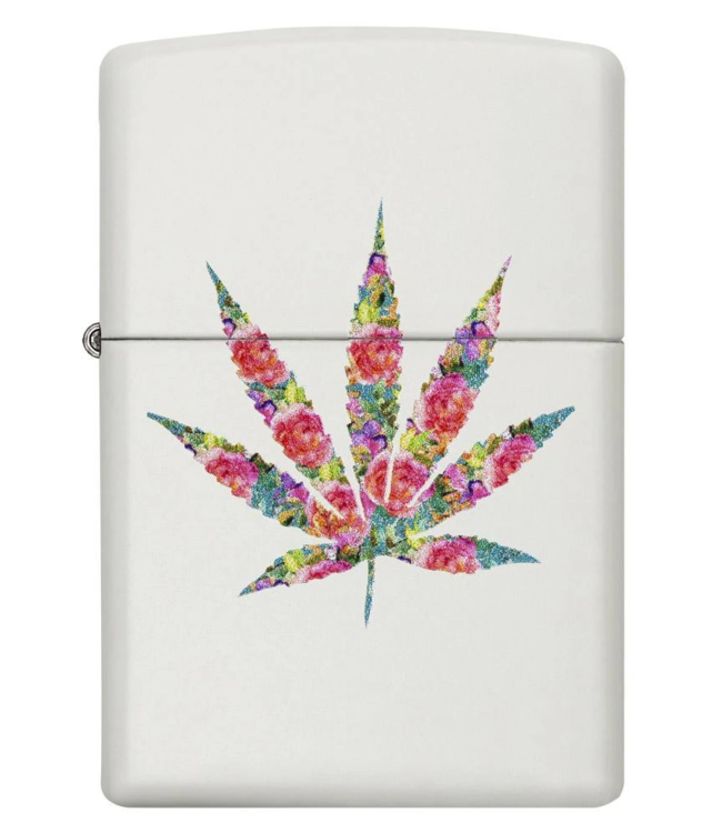 Zippo Lighter White Matte w/ Multi-Colour Leaf
