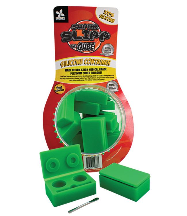 """Buddies Buddies Super Slick """"The Qube"""" Silicone Container w/ Tool 6ml"""