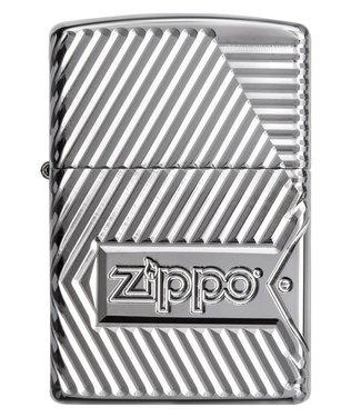 Zippo Zippo Armor Lighter Bolts w/ Logo & Red Emblem High Polish Chrome