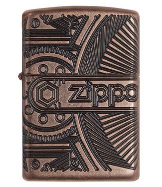 Zippo Zippo Armor Lighter Steampunk Gears w/ Logo Antique Copper