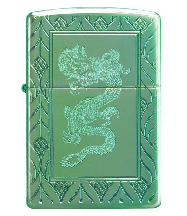 Zippo Zippo Armor Lighter Elegant Dragon High Polish Green