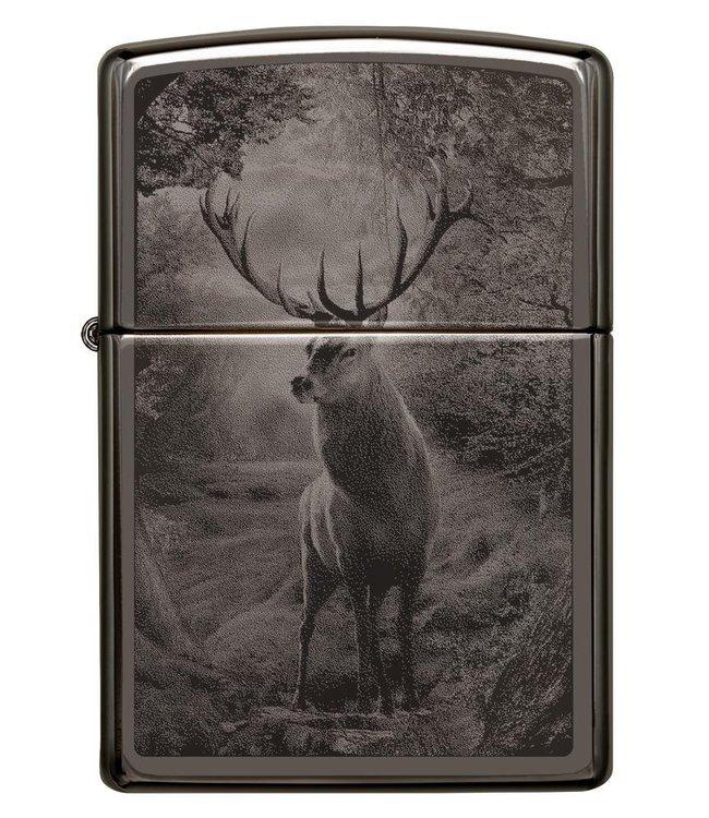 Zippo Zippo Lighter Woodland Deer Scene Black Ice