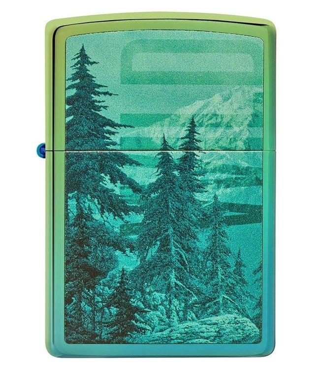 Zippo Zippo Lighter Mountain Scene High Polish Teal