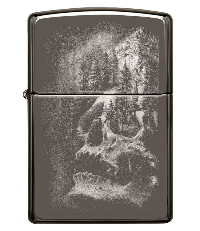 Zippo Zippo Lighter Skull Mountain Black Ice