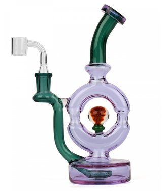 """Red Eye Glass Red Eye Glass 9"""" Donut Rig w/ Implosion Marble Purple & Teal"""