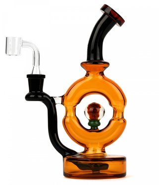 """Red Eye Glass Red Eye Glass 9"""" Donut Rig w/ Implosion Marble Gold & Black"""