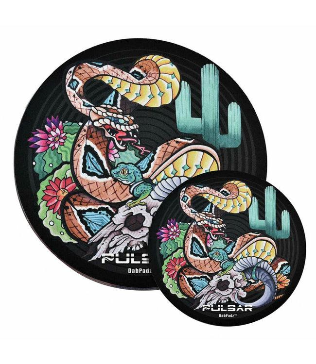 "DabPadz DabPadz x Pulsar 5"" Round Psychedelic Rattlesnake Fabric Top 1/4"""